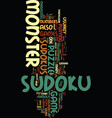 monster sudoku text background word cloud concept vector image vector image