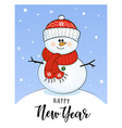 new year card with snowman vector image