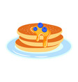 pancakes with berries on a plate cartoon vector image