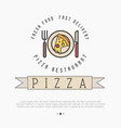 pizza logo with thin line icons plate knif vector image