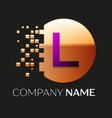 purple letter l logo symbol in golden pixel circle vector image