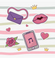 purse lips smartphone flowers hearts crowns vector image