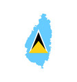 saint lucia flag and map vector image vector image