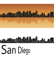 San Diego skyline in orange background vector image vector image