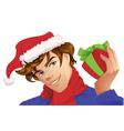 Santa Man Holding a Christmas Gift vector image vector image