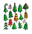 set of christmas fir trees on white background vector image vector image