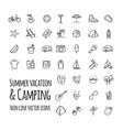 summer vacation and camping icons set vector image vector image