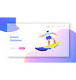 surfing sport woman riding sea wave at surf board vector image vector image