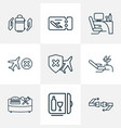 travel icons line style set with lounge cancelled vector image vector image