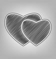two hearts sign pencil sketch imitation vector image vector image