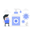 young man against virus with hand sanitizer gel vector image