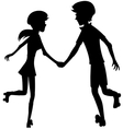 Happy roller-skating couple - silhouette vector image