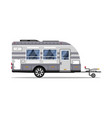 car rv trailer isolated icon vector image