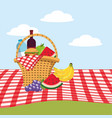basket with water bottle and wine in the vector image vector image