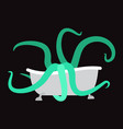 bath and octopus bathtub and monster vector image vector image