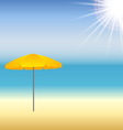 Beach with parasol and sun vector image