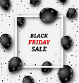 black friday poster with shiny balloons on white vector image vector image