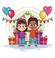 boy and girl on birthday party vector image vector image
