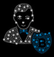 bright mesh carcass bitcoin protector with light vector image vector image