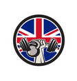 british hand lift barbell kettlebell union jack vector image vector image