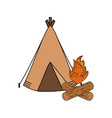 camping tent with campfire vector image vector image