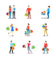 cartoon characters different shopping people set vector image vector image