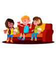 children sitting on the sofa with popcorn and vector image vector image
