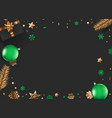 christmas background with green and gold vector image
