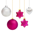 Christmas decorations in silver and magenta vector image vector image