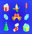christmas new year icons set vector image