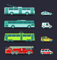 city transport set in flat style urban vector image vector image
