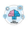 cloud data service with circuits icon vector image vector image
