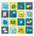 Colored Square Datacenter Icon Set vector image vector image