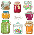 Colorful set of isolated mason jars vector image