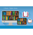 Computer and books E-Book and Digital Library vector image vector image