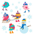 Cute birds winter vector image vector image