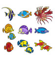cute sea fishes coloring page on a white vector image vector image