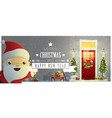 decorated christmas front door and santa claus vector image vector image