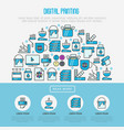 digital printing concept with thin line icons vector image