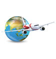 Earth globe and airplane vector image