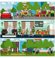 family characters at home and outdoors flat vector image vector image