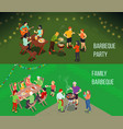 family picnic isometric banners vector image vector image
