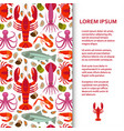 flat poster or banner template with seafood vector image