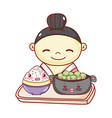 geisha with bowl and rice in tray food japanese vector image