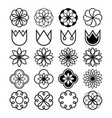 geometric flowers abstract flower set tulip shap vector image vector image