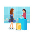 girl prepare for trip railway station tickets vector image vector image