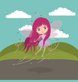 girly fairy fantastic character flying with wings vector image