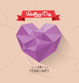 happy valentine with geometrical heart card vector image vector image