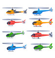 helicopters aircrafts collection flying colorful vector image vector image