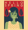 hello spring trendy banner concept vector image